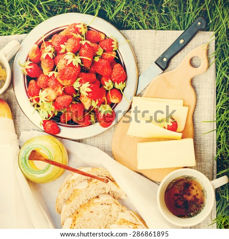 Linen Table with Summer Food Fresh Bread, Cheese, Honey, Strawberry,Tea. Picnic on Grass. Image with filter effect instagram - stock photo