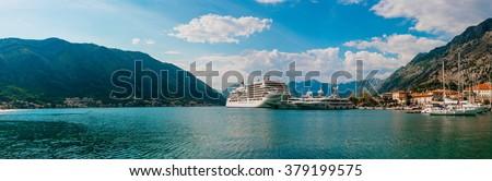 Liner in the Bay of Kotor - stock photo
