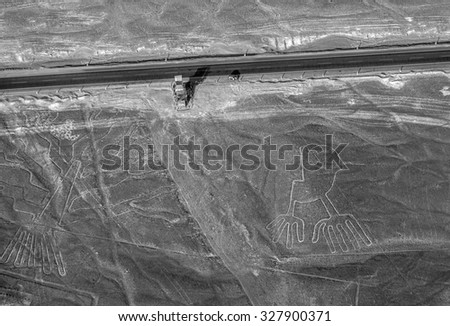 Lines and Geoglyphs in the Nazca desert. It is a designated UNESCO World Heritage Site - Peru, South America (black and white)