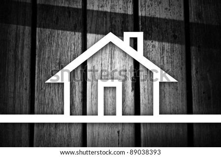 Lines drawn into the house. - stock photo