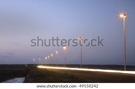 lines formed by car lights - stock photo