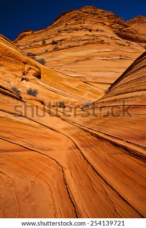Lines in the sandstone - stock photo