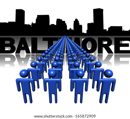 Lines of people with Baltimore skyline illustration - stock photo