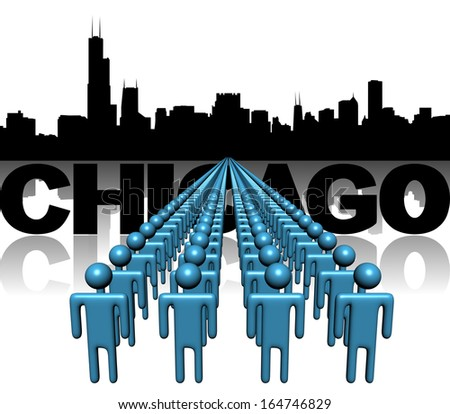 Lines of people with Chicago skyline illustration - stock photo