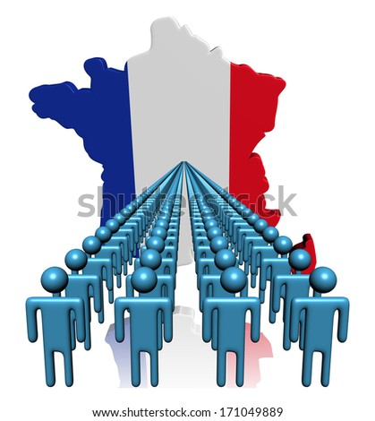 Lines of people with France map flag illustration - stock photo