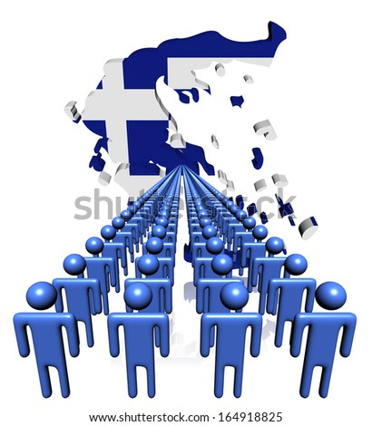 Lines of people with Greece map flag illustration - stock photo