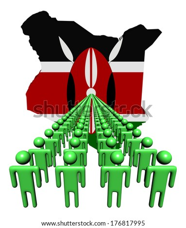 Lines of people with Kenya map flag illustration - stock photo