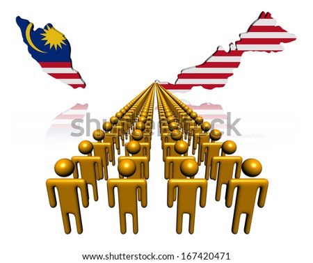 Lines of people with Malaysia map flag illustration - stock photo