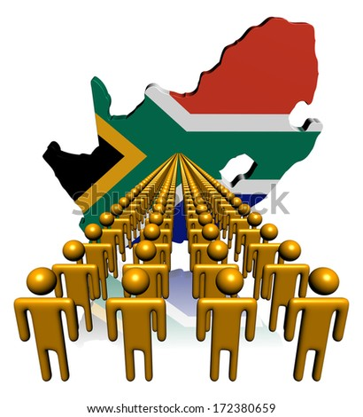 Lines of people with South Africa map flag illustration - stock photo