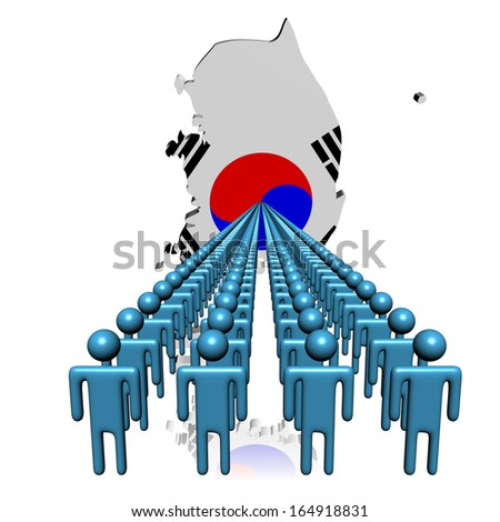 Lines of people with South Korea map flag illustration - stock photo