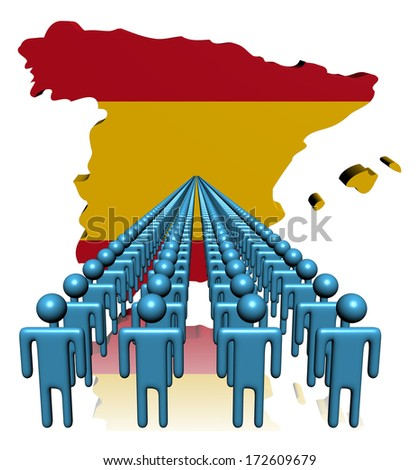 Lines of people with Spain map flag illustration - stock photo