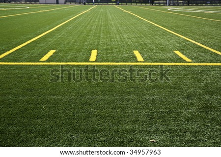 Lines on a field in a stadium.