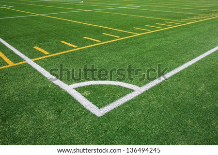 Lines on football and soccer artificial turf field - stock photo