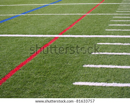 Lines on the grass of Football Field - stock photo