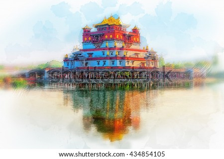 Ling Shan Five-signets Palace in Wuxi, China. Illustration  - stock photo