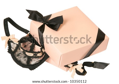 lingerie in present box - stock photo