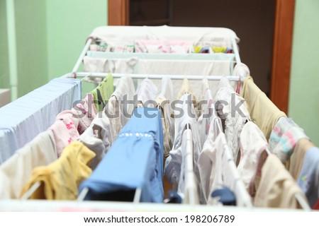 Lingerie on drying - stock photo