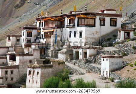 Lingshed (Lingshet, Lingshot) gompa - buddhist monastery in Zanskar valley - Ladakh - Jammu and Kashmir - India  - stock photo
