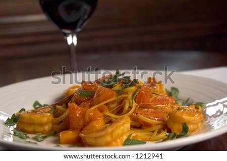 Linguine Con Scampi, Linguine and Shrimp - stock photo