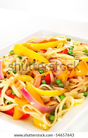 linguine pasta with vegetables angle vertical - stock photo