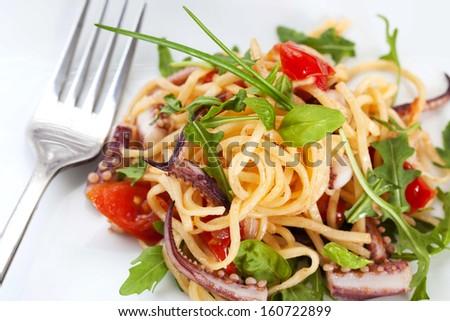 Linguine seafood - stock photo