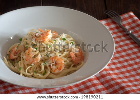 Linguine with shrimps - stock photo