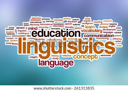 Linguistics word cloud concept with abstract background - stock photo