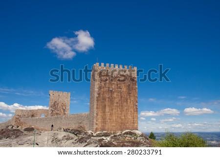 Linhares da Beira Castle - a Medievial, 12th Century Castle in Portugal, built on the northwest slope of Serra da Estrela - stock photo