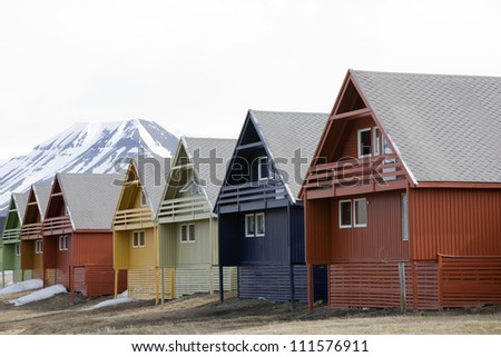 Link-attached houses, Spitsbergen, Svalbard, Norway - stock photo
