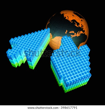 Link selection computer mouse cursor and Earth - Glodal internet concept. 3D rendering - stock photo