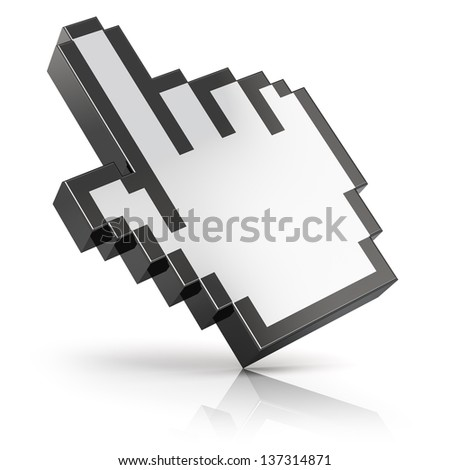 Link selection hand computer mouse cursor isolated on white background with reflection effect - stock photo