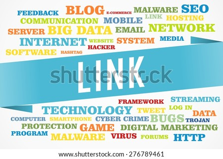 link word on collage word concept with blue background - stock photo