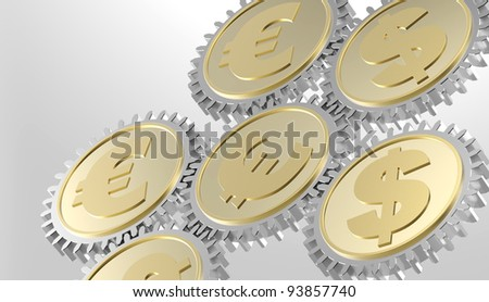 Linked gear with a dollar and euro sign. Computer generated 3D photo rendering. - stock photo