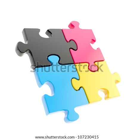 Linked puzzle four cmyk colored jigsaw pieces isolated on white - stock photo