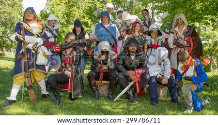 LINKOPING, SWEDEN - JULY 24: Unidentified young people in Swedish character cosplay event. The official name is narcom and organization is nordic cosplay championship in Linkoping Sweden July 24 2015 - stock photo
