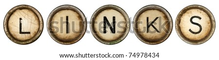 Links, close up on old grunge typewriter keys - stock photo