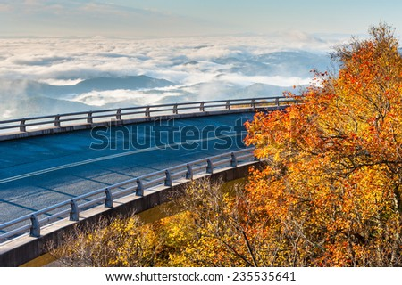 Linn Cove Viaduct Blue Ridge Parkway Autumn Foggy Valley Scenic - stock photo