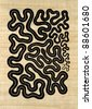 Linocut done by me named Snake, it shows a abstract pattern formed of a very long winding snake, black print on light brown papyrus sheet - stock photo