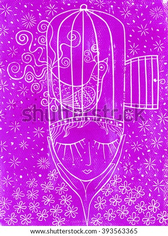 Linocut thought magenta - stock photo