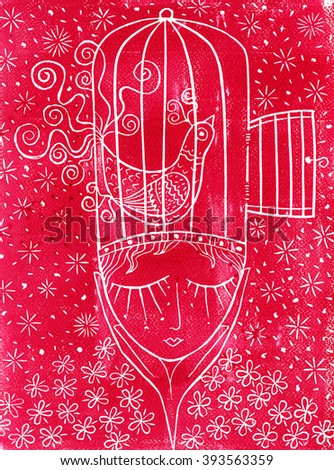 Linocut thought red - stock photo