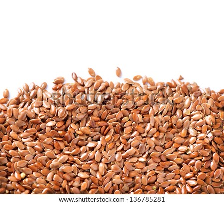 Linseed. Flaxseed border isolated on White Background. Flax seeds - stock photo