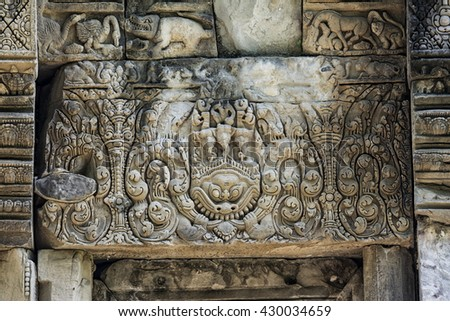 Lintel of Phluang Sanctuary in Surin, public areas.