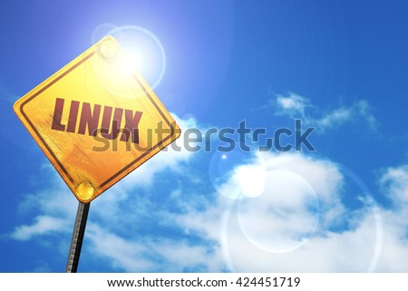 linux, 3D rendering, a yellow road sign