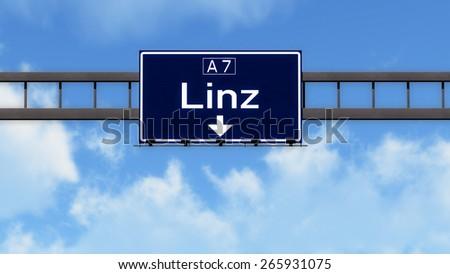 Linz Austria Highway Road Sign - stock photo