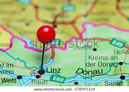 Linz Pinned On Map Austria Stock Photo 378991324 Shutterstock