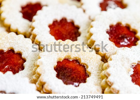Linzer cookies with cherry jam - stock photo