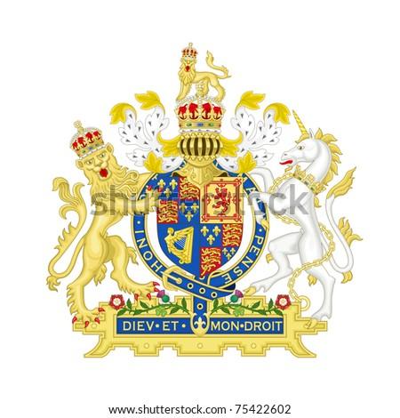 Lion and unicorn on English heraldic coat of arms, isolated on white background. - stock photo
