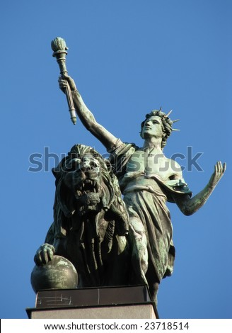 lion and youth with a torch, statue, Czech