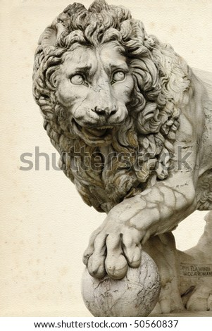 Lion at piazza della Signoria in  Florence (Italy) - stock photo