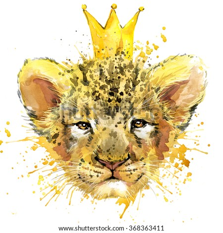 Lion cub. Lion T-shirt graphics, watercolor Lion cub. illustration watercolor cute Lion cub  for fashion print, poster for textiles, fashion design - stock photo